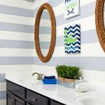 alexandria bathroom project gray and white stripes nautical decorations image of vanity with two mirrors